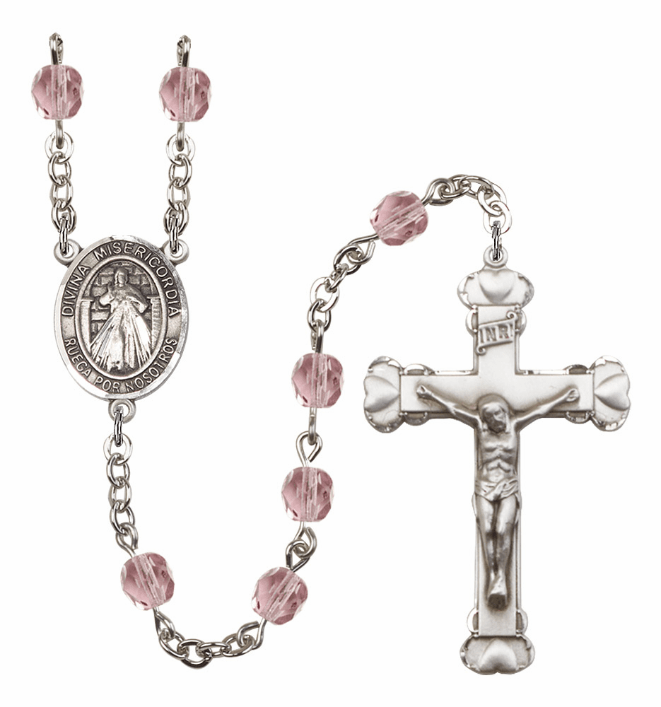 Bliss Mfg Spanish Misericordia/Jesus Divine Mercy February Amethyst Birthstone Heart Rosary