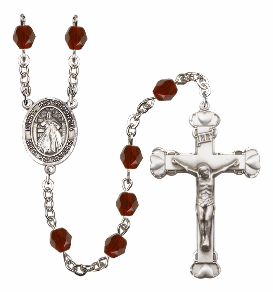 Bliss Mfg Spanish Misericordia/Jesus Divine Mercy January Garnet Birthstone Heart Rosary