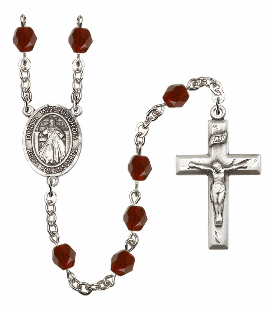 Bliss Mfg Spanish Misericordia/Jesus Divine Mercy January Garnet Birthstone Rosary