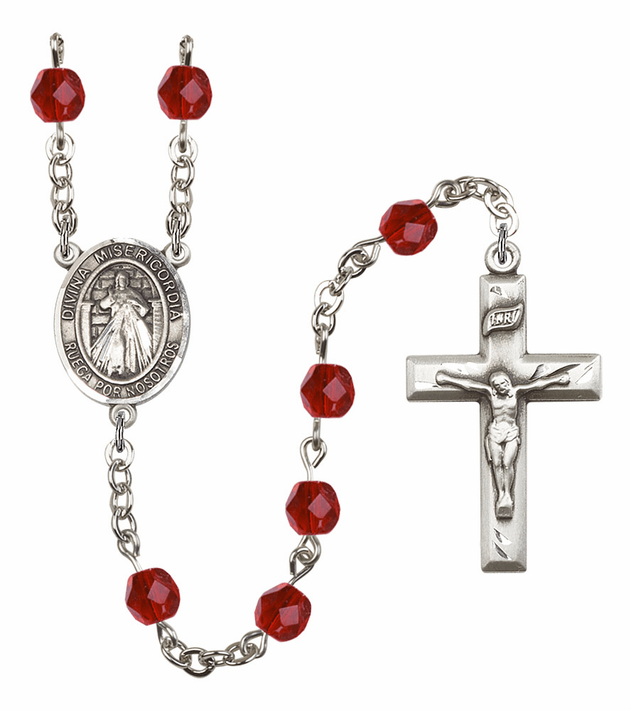Bliss Mfg Spanish Misericordia/Jesus Divine Mercy July Ruby Birthstone Rosary