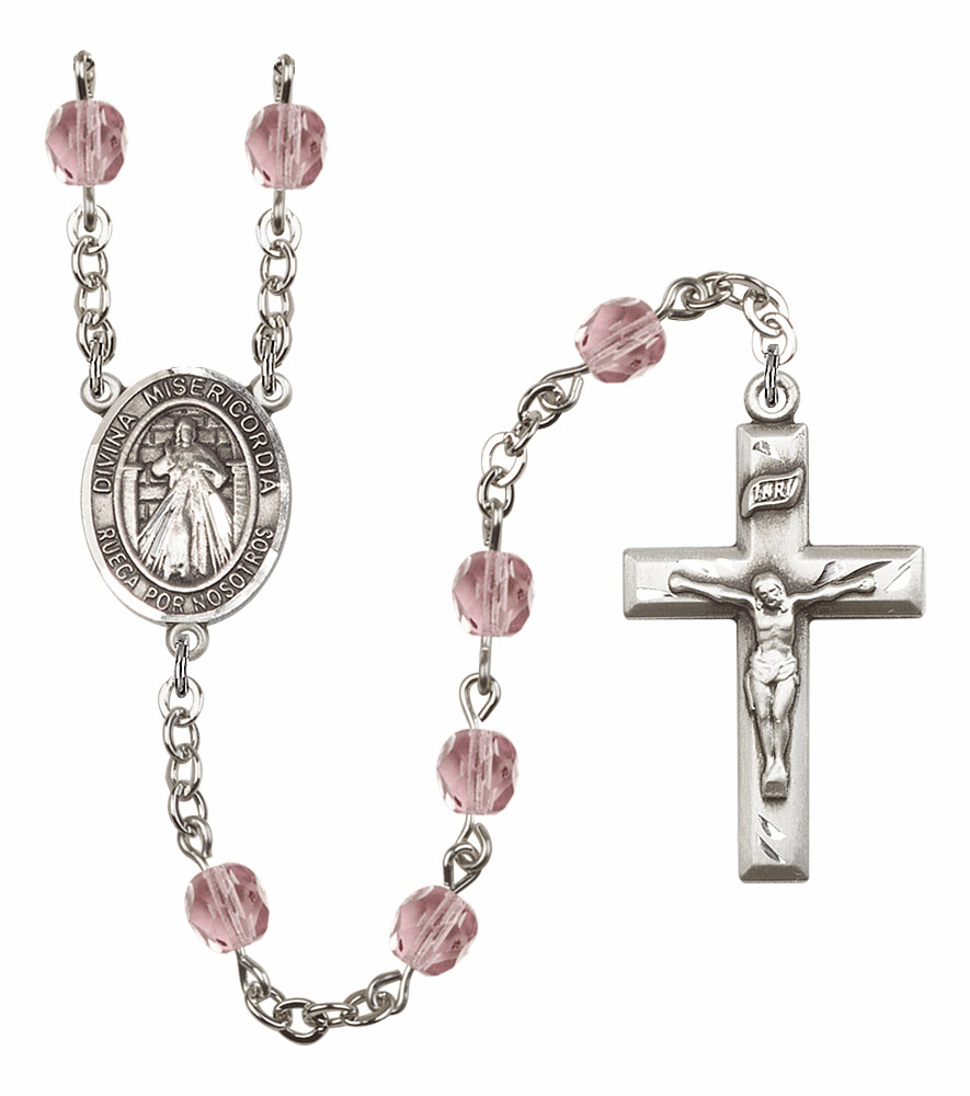 Bliss Mfg Spanish Misericordia/Jesus Divine Mercy June Lt Amethyst Birthstone Rosary