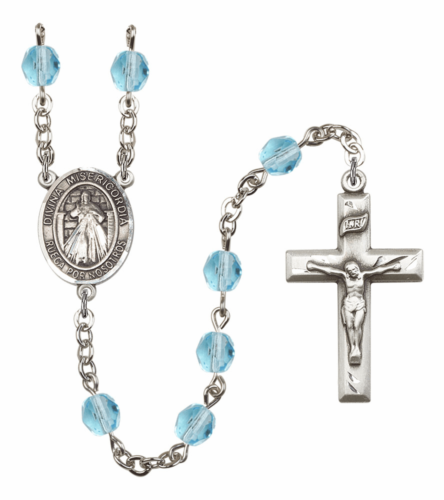 Bliss Mfg Spanish Misericordia/Jesus Divine Mercy March Aqua Birthstone Rosary