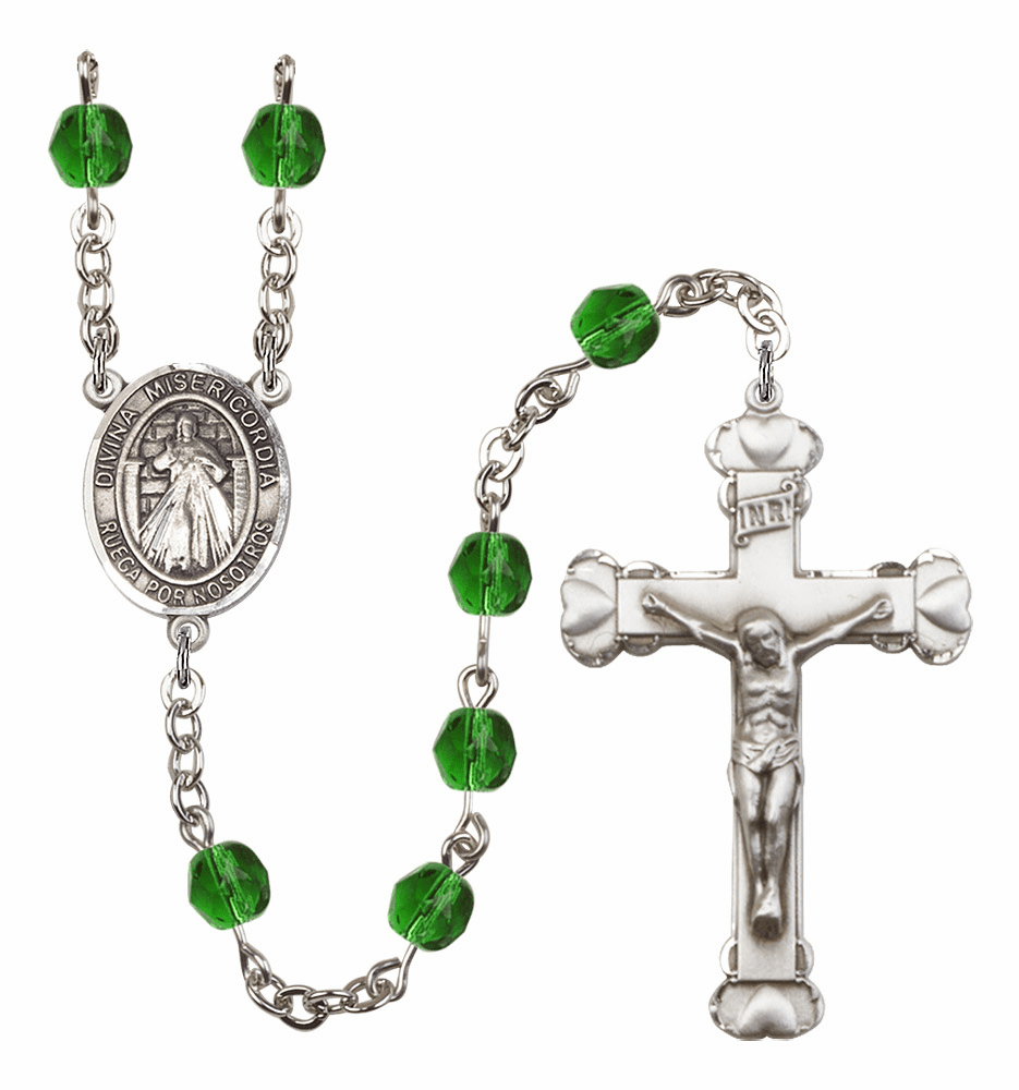 Bliss Mfg Spanish Misericordia/Jesus Divine Mercy May Emerald Birthstone Heart Rosary