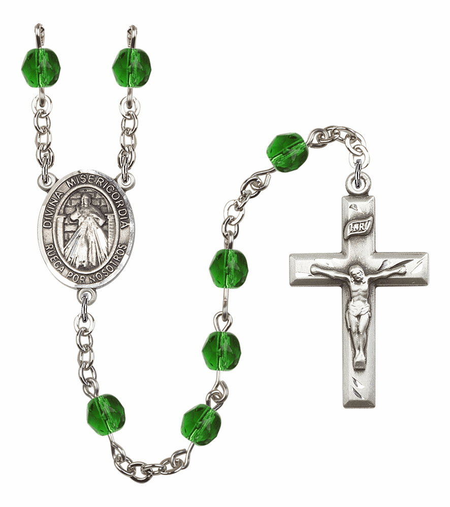 Bliss Mfg Spanish Misericordia/Jesus Divine Mercy May Emerald Birthstone Rosary