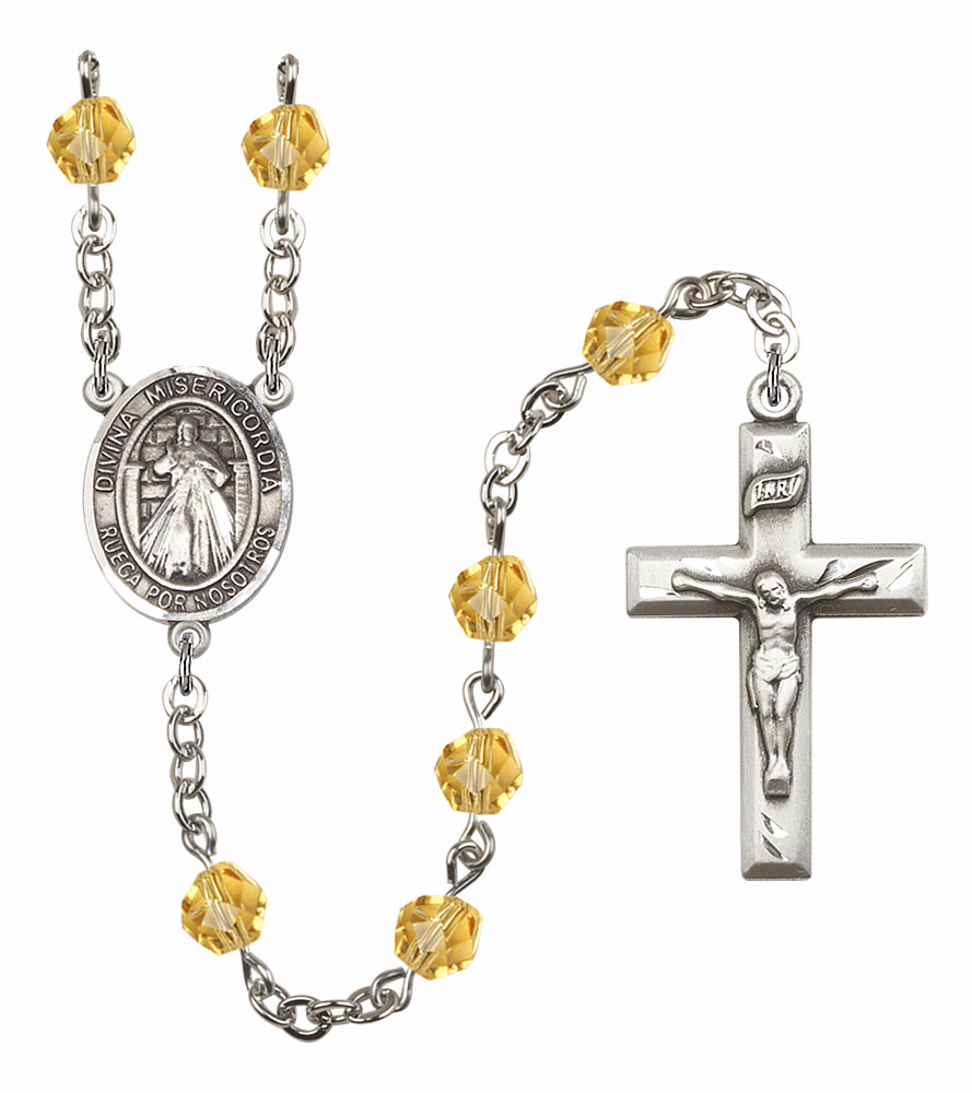 Bliss Mfg Spanish Misericordia/Jesus Divine Mercy November Topaz Birthstone Rosary