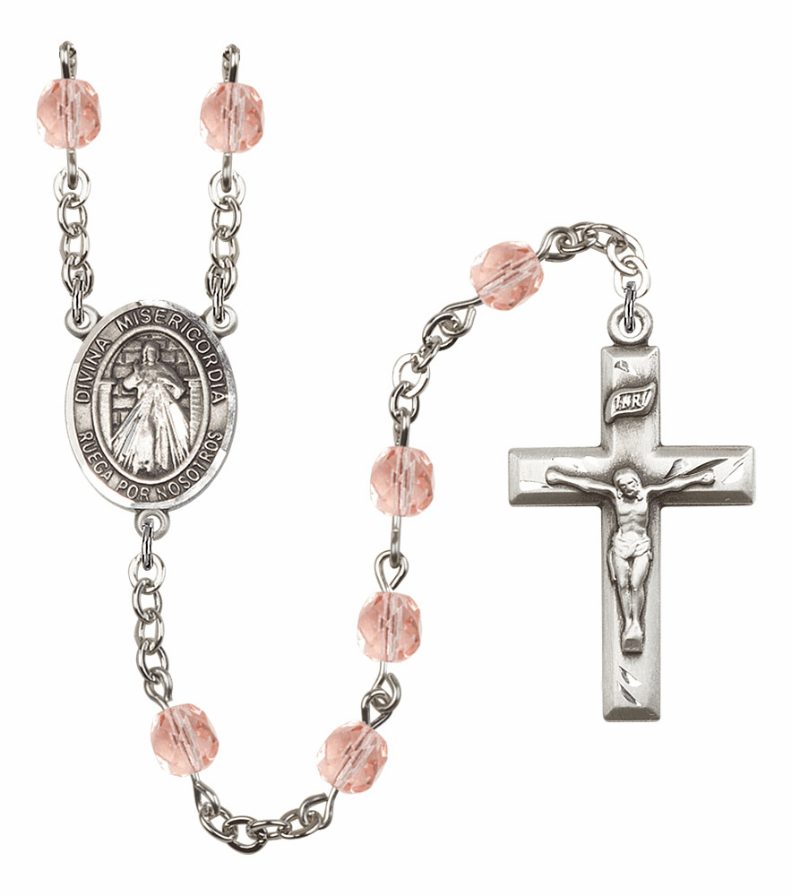 Bliss Mfg Spanish Misericordia/Jesus Divine Mercy October Rose Birthstone Rosary