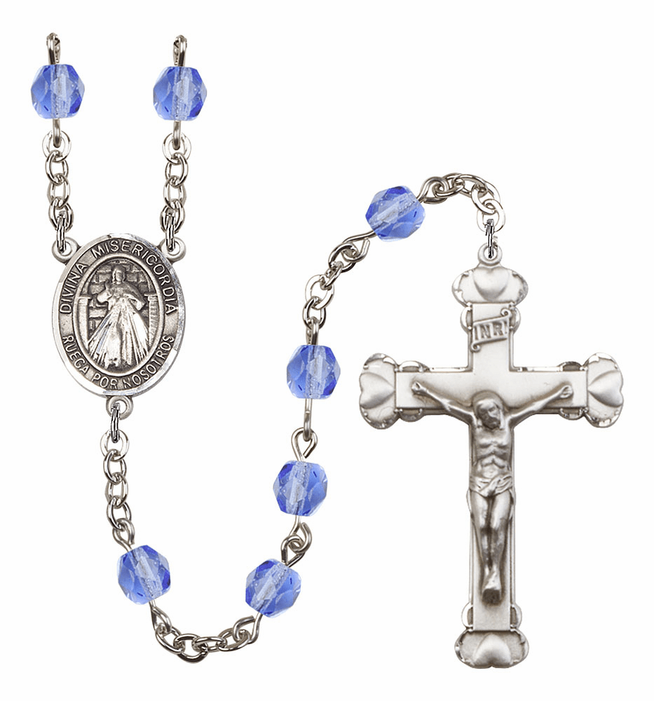 Bliss Mfg Spanish Misericordia/Jesus Divine Mercy September Sapphire Birthstone Heart Rosary