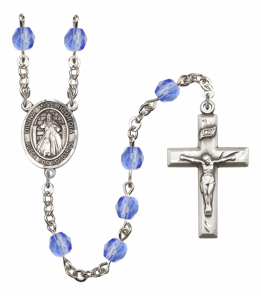 Bliss Mfg Spanish Misericordia/Jesus Divine Mercy September Sapphire Birthstone Rosary