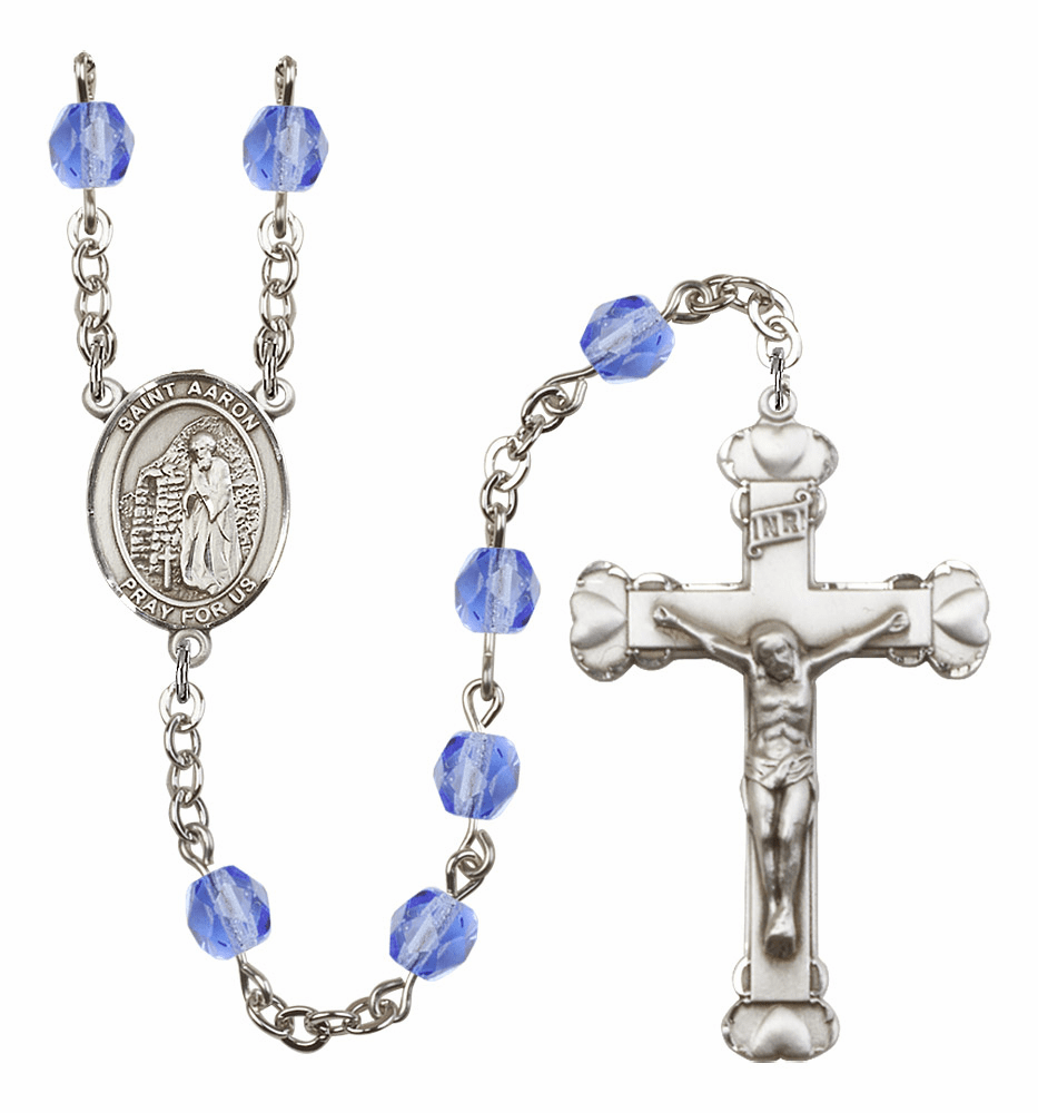 Bliss Mfg St Aaron Sep/Sapphire Birthstone Heart Rosary More Colors
