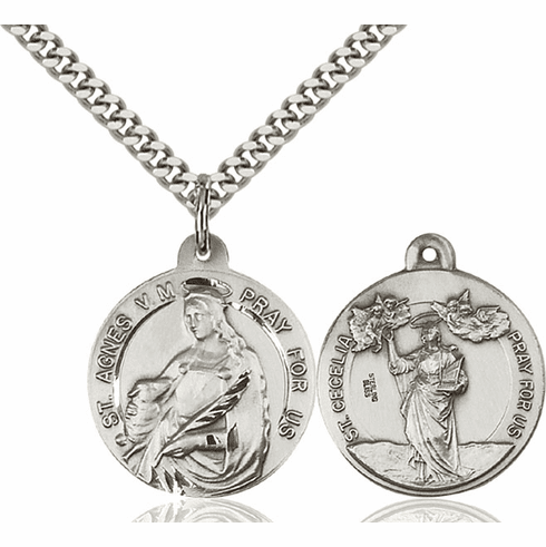 Bliss St Agnes of Rome and St Cecilia Medal Necklace