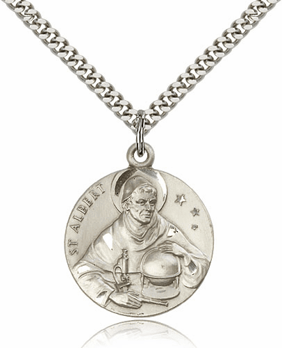 Bliss Mfg St Albert the Great Sterling Silver Parton Saint Medal Necklace