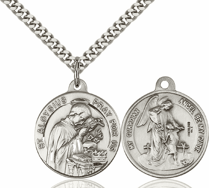 Bliss St Aloysius and Guardian Angel Medal Necklace