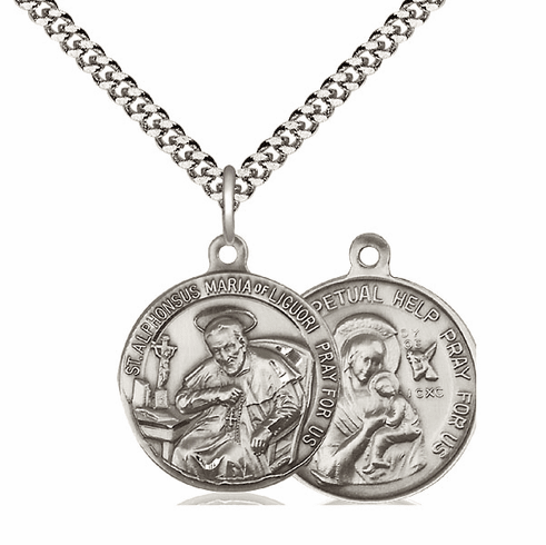 Bliss St Alphonsus and O/L of Perpetual Help Medal Necklace