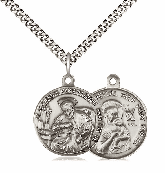 Bliss Mfg St Alphonsus and Our Lady Perpetual Help Sterling Medal Necklace