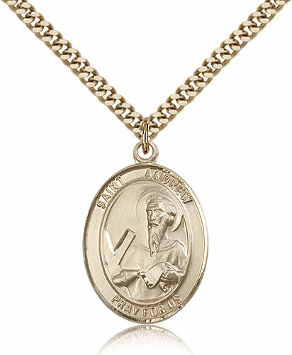 Bliss Mfg St Andrew the Apostle 14kt Gold Filled Saint Medal Necklace