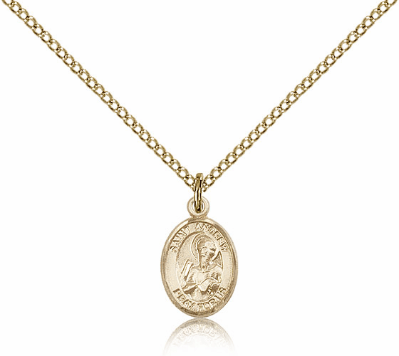 Bliss Mfg St Andrew the Apostle Gold Filled Patron Saint Medal Necklace