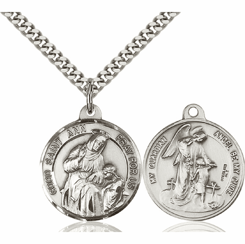 Bliss St Ann and Guardian Angel Medal Necklace