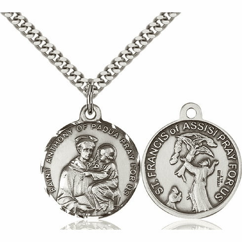 Bliss St Anthony and St Francis of Assisi Medal Necklace