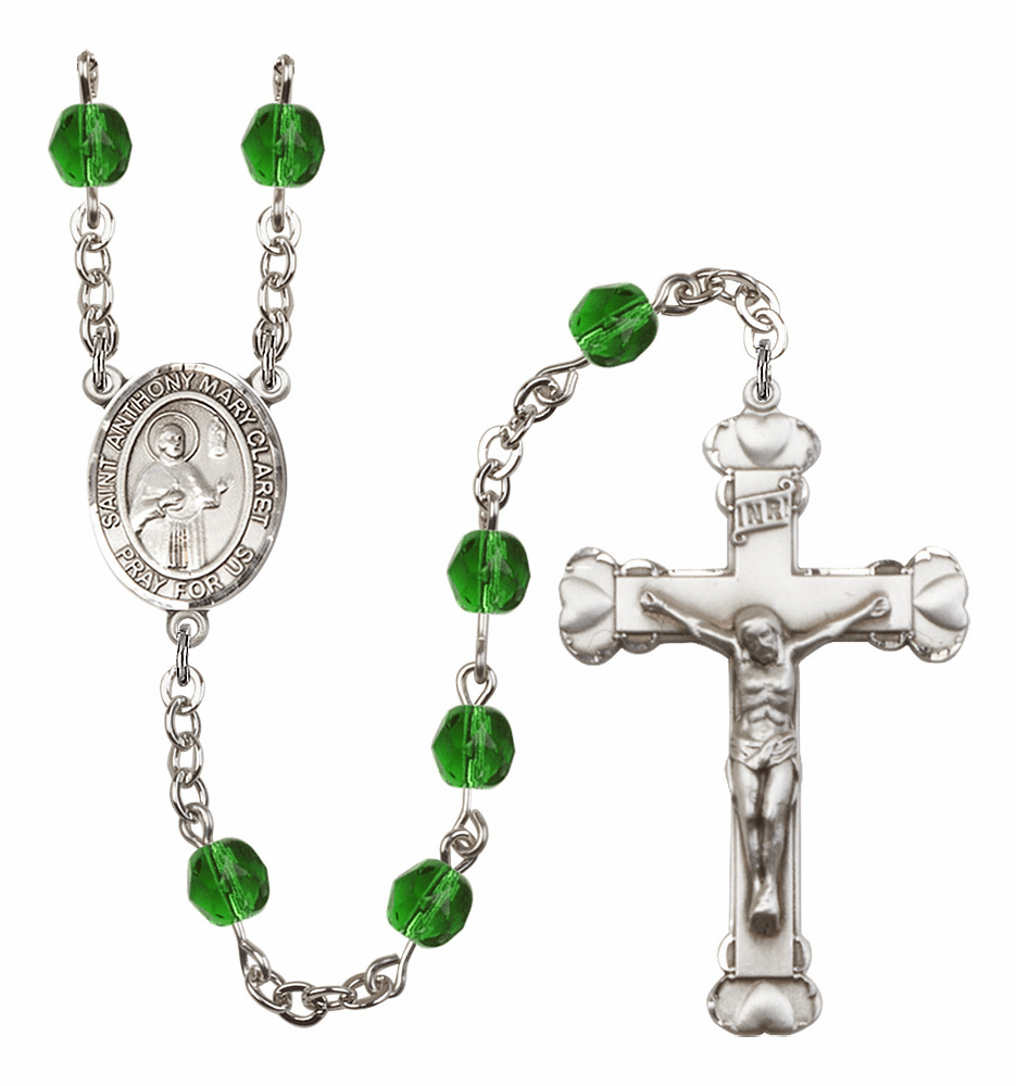 Bliss Mfg St Anthony Mary Claret Heart Birthstone Crystal Rosary  - More Colors