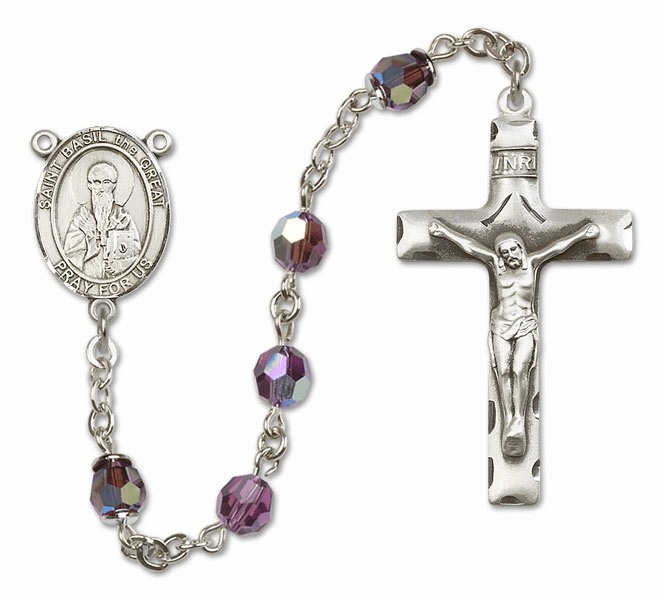 "Bliss Mfg St Basil the Great Sterling Silver Patron Saint  Swarovski Crystal Rosary - ""More Options"""