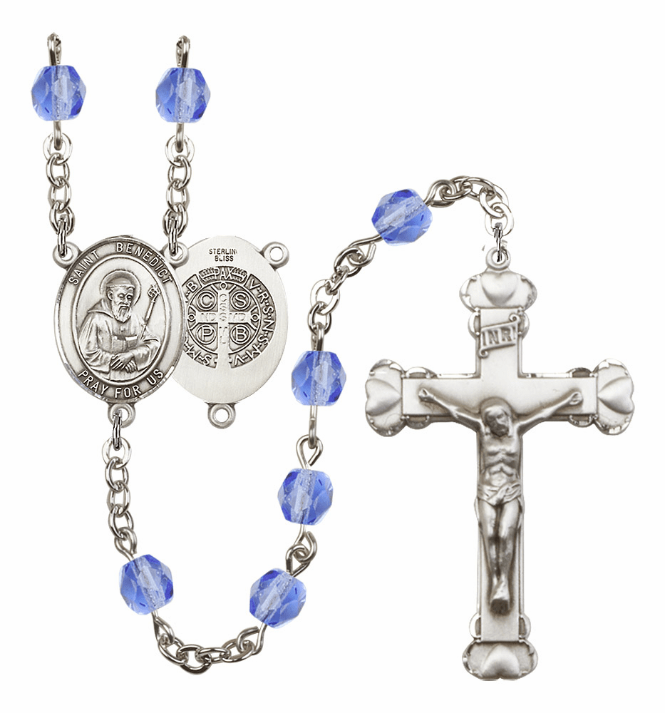 Bliss Mfg St Benedict Sep/Sapphire Birthstone Heart Crystal Rosary - More Colors