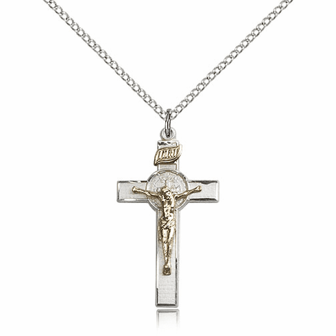 Bliss Mfg St. Benedict Two-Tone Crucifix Pendant Necklace
