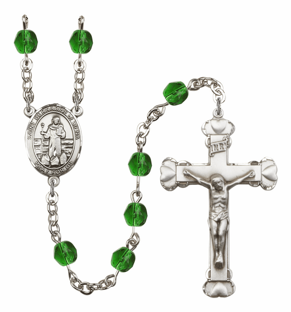 "Bliss Mfg St Bernadine Of Sienna Heart Birthstone Crystal Prayer Rosary  - ""More Colors"""