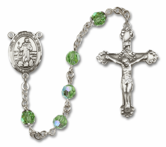 "Bliss Mfg St Bernadine Of Sienna Swarovski Crystal Sterling Silver Catholic Saint Rosary - ""More Options"""