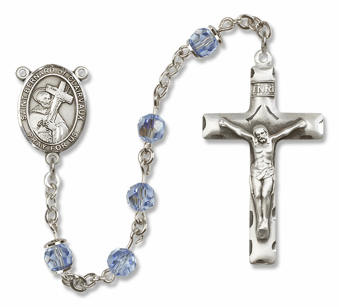 """Bliss Mfg St Bernard of Clairvaux Sterling Silver Patron Saint  Swarovski Crystal Rosary - """"More Options"""""""