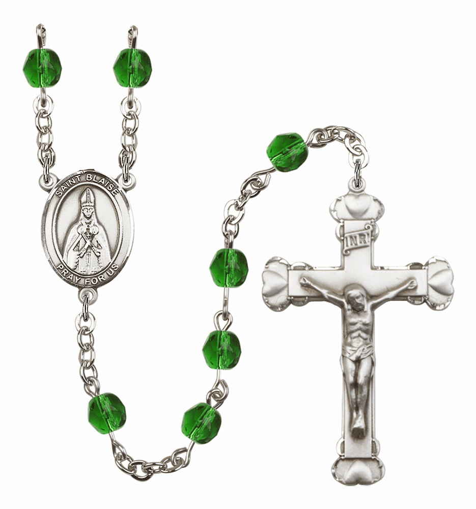 "Bliss Mfg St Blaise Heart Birthstone Crystal Prayer Rosary  - ""More Colors"""