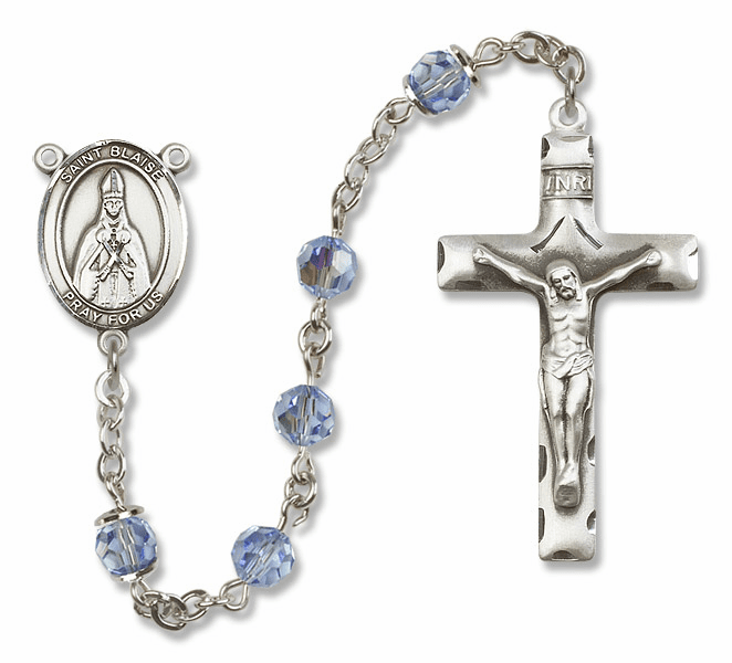 "Bliss Mfg St Blaise Sterling Silver Patron Saint  Swarovski Crystal Rosary - ""More Options"""