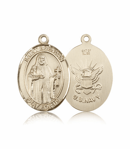 Bliss Mfg St Brendan the Navigator Navy Military Medal Pendant