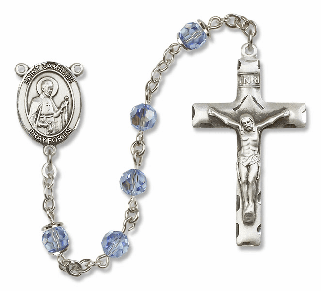 "Bliss Mfg St Camillus of Lellis Sterling Silver Patron Saint  Swarovski Crystal Rosary - ""More Options"""