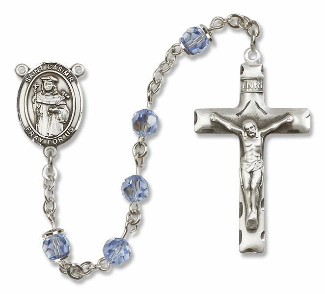 """Bliss Mfg St Casimir of Poland Sterling Silver Patron Saint  Swarovski Crystal Rosary - """"More Options"""""""