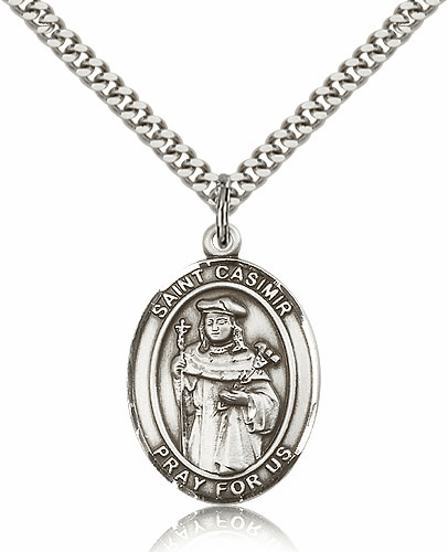 St Casimir of Poland Sterling Silver Saint Medal