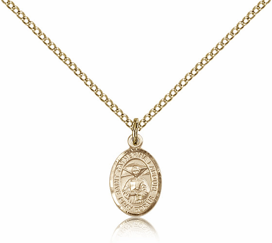 Bliss Mfg St Catherine Laboure Patron Saint 14kt Gold Filled Medal Necklace