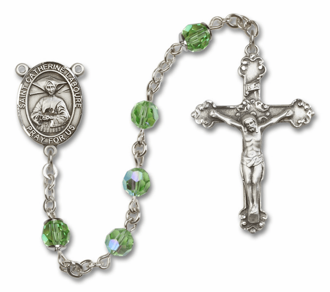 Bliss St Catherine Laboure Crystal Sterling or Gold Rosaries - More Colors