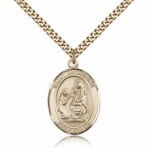 Bliss St Catherine of Siena Patron Saint 14kt Gold-filled Medal Necklace