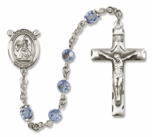 "Bliss Mfg St Catherine of Siena Sterling Silver Patron Saint  Swarovski Crystal Rosary - ""More Options"""