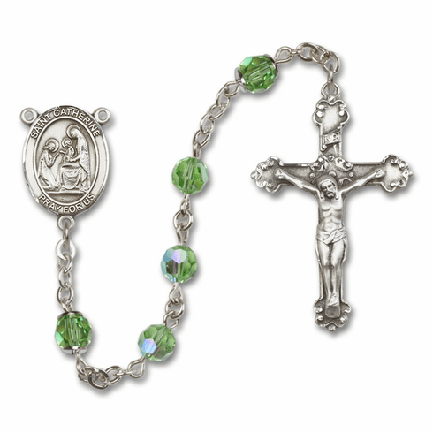 Bliss St Catherine of Siena Crystal Sterling or Gold Rosaries - More Colors