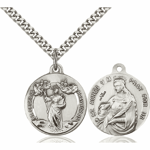 Bliss St Cecilia and St Agnes of Rome Medal Necklace
