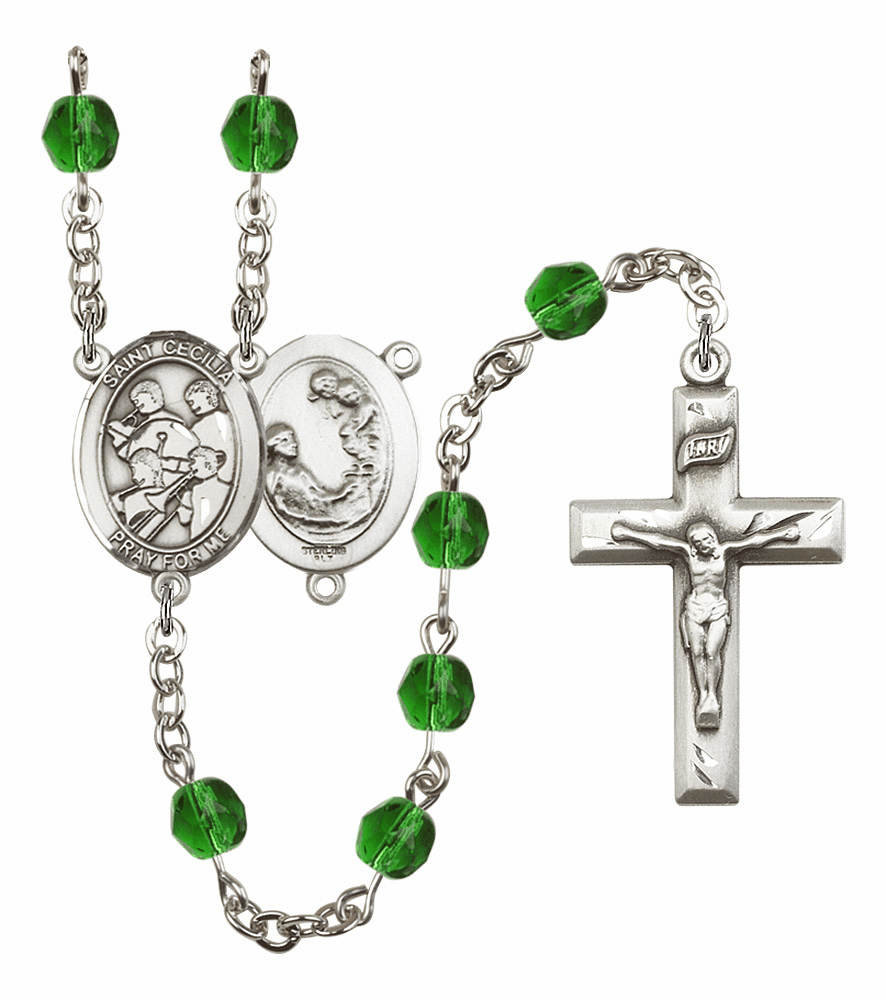 "Bliss Mfg St Cecilia Marching Band Birthstone Crystal Prayer Rosary  - ""More Colors"""