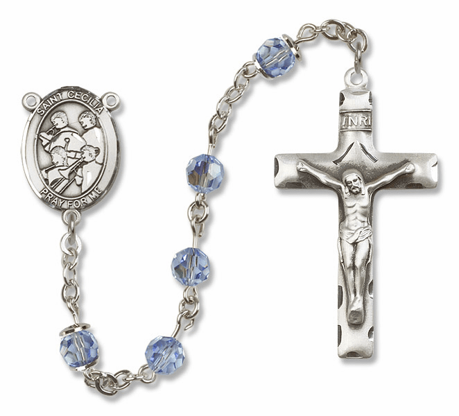 """Bliss Mfg St Cecilia Marching Band Sterling Silver Patron Saint  Swarovski Crystal Rosary - """"More Options"""""""