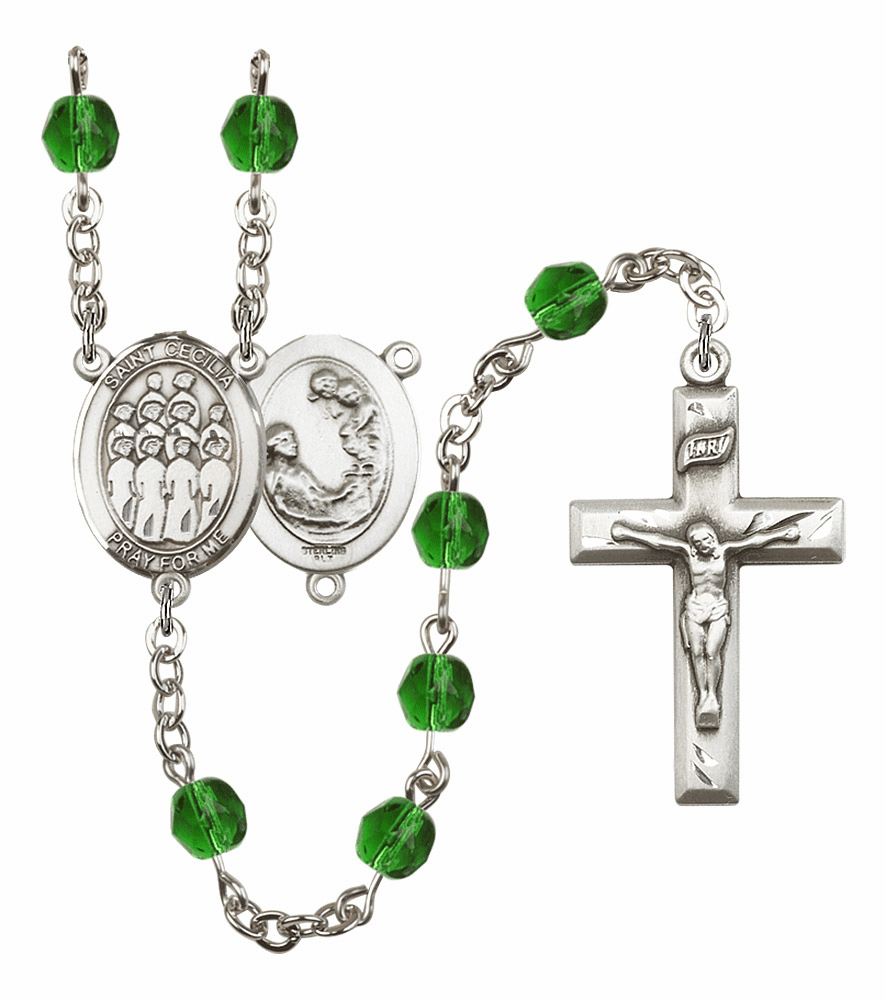 "Bliss Mfg St Cecilia Music Choir Birthstone Crystal Prayer Rosary  - ""More Colors"""
