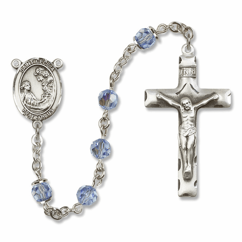 Bliss Mfg St Cecilia Sterling Silver, Gold-filled or 14kt Crystal Rosary - More Colors