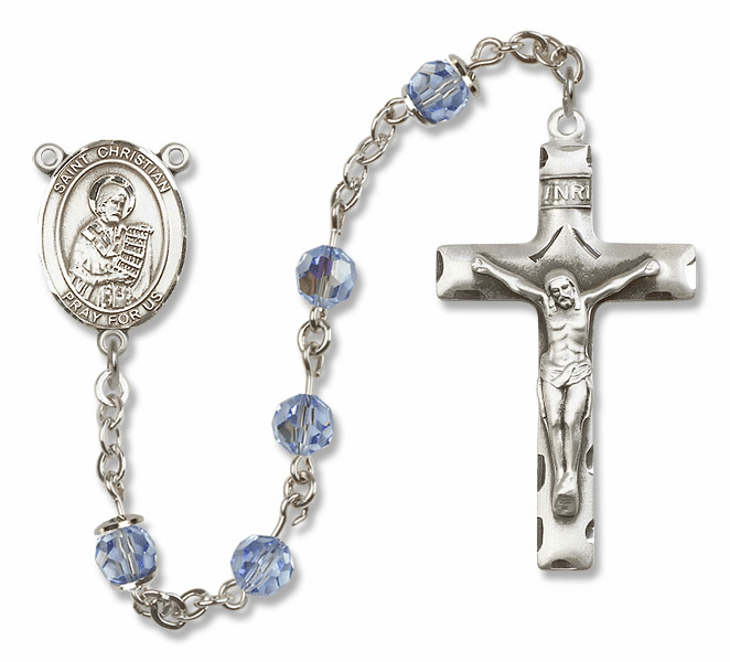 "Bliss Mfg St Christian Demosthenes Sterling Silver Patron Saint  Swarovski Crystal Rosary - ""More Options"""