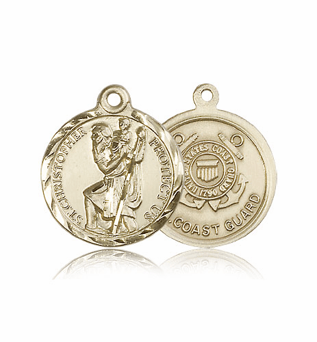 Bliss Mfg St Christopher 14kt Gold US Coast Guard Military Patron Saint Medal Pendant