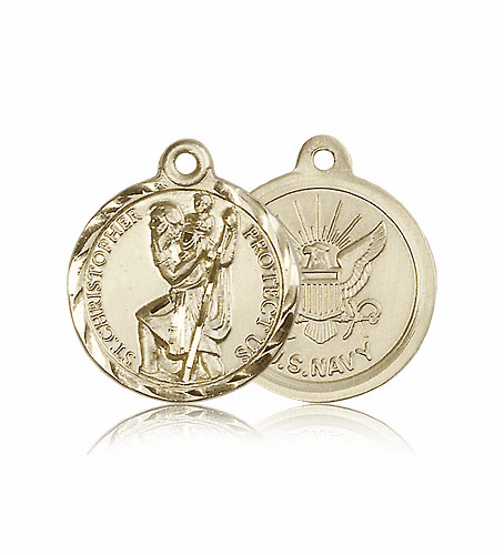 Bliss Mfg St Christopher 14kt Gold US Navy Military Patron Saint Medal Pendant