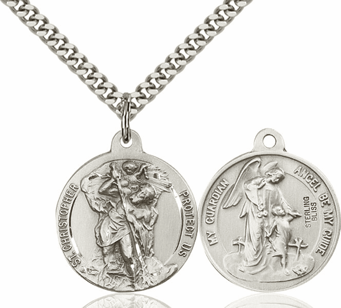 Bliss St Christopher and Guardian Angel Medal Necklace