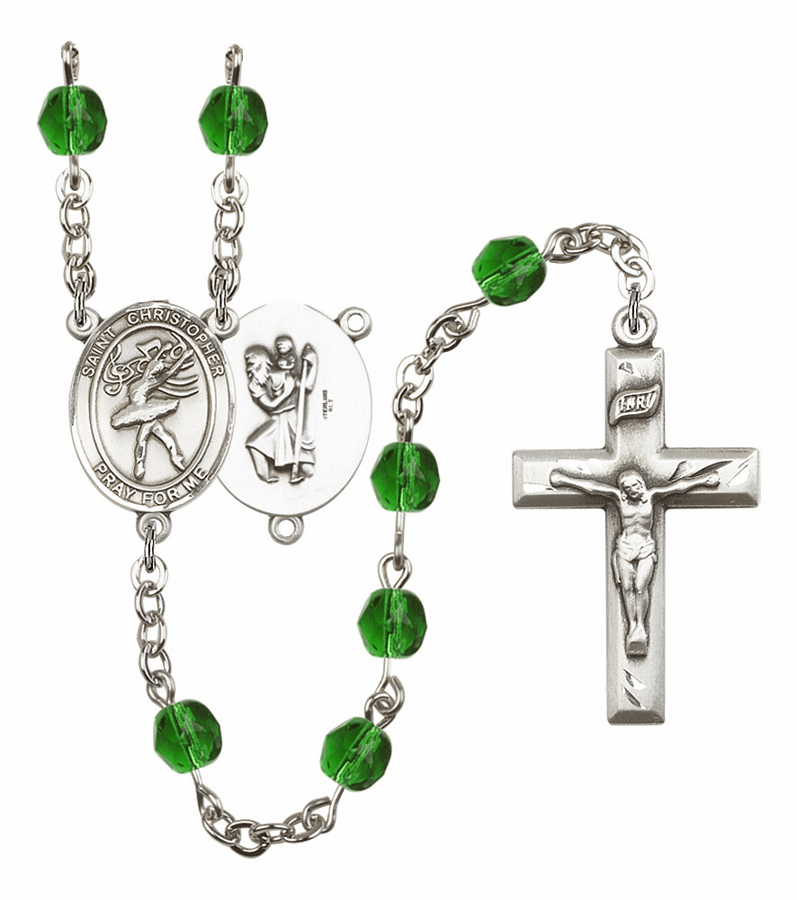 Bliss Mfg St Christopher Dance Birthstone Crystal Rosary - More Colors